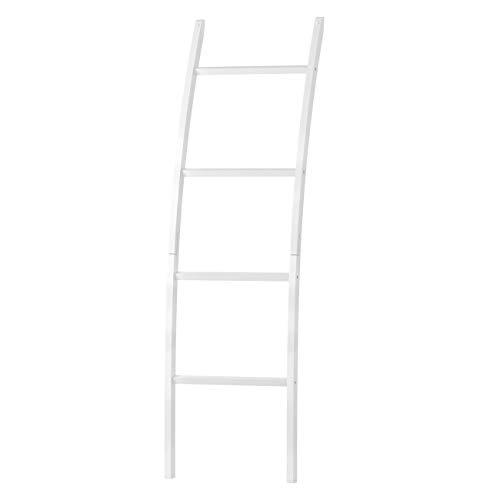 ZRI Bamboo Handtuchleiter Handtuchständer Leiter Handtuchhalter Regal mit 4 Stangen, super eleganter Kleiderständer für Badezimmer Wohnzimmer, Bambus (Weiß)