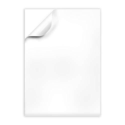 Mr-Label - Papel adhesivo transparente resistente al agua, impresión por inyección de tinta y láser, etiqueta de hoja completa mate esmerilada, A4
