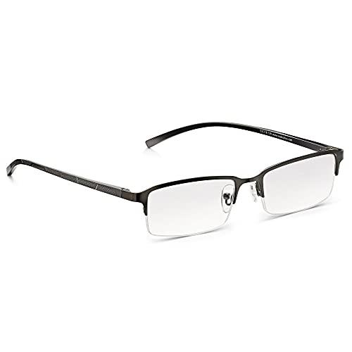 Gafas de Bolsillo Read Optics: de Lectura Vista Presbicia de Hombre en Gris Plomo, de Media Montura y Bisagras de Resorte. Lentes Transparentes Antireflejos y Rasguño Resistentes +1,00 Dioptrías