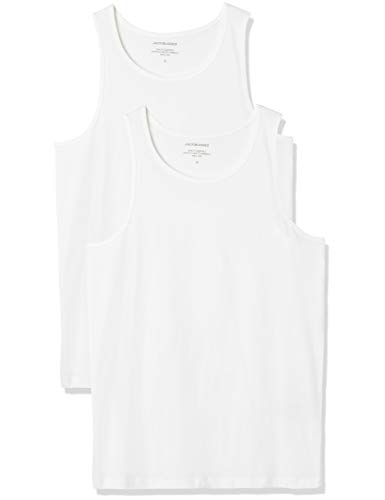 JACK & JONES Herren JACBASIC Tanktop 2 Pack Top, Weiß (White White), Small (2er Pack)