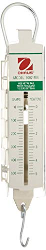 Ohaus 8002-MN Pull-Type Hanging Spring Scales, 500g x 20g, and 5N x 0.2N