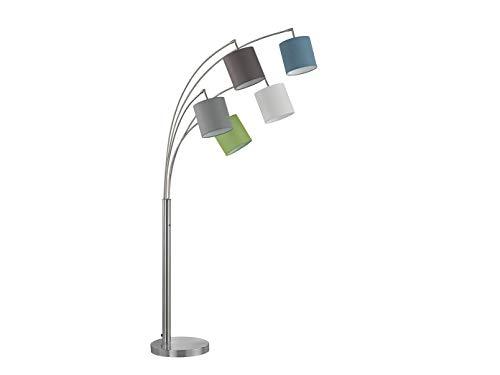 Coole verspielte Fischer-Honsel Stehlampe ANNECY mit 5 bunten, beweglichen Stoffschirmen