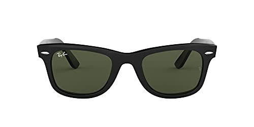 Ray-Ban RB2140 Original Wayfarer Sunglasses, Black/Crystal Green, 54 mm