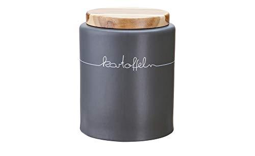 KHG Kartoffeldose Vorratsdose Keramik grau anthrazit mit Holz-Deckel und Belüftung Kartoffelkiste Kartoffelbox