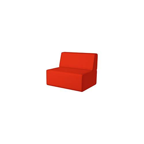 PanQube module 11-I-D-BR TORINO 90 sofa voor kinderen zonder MINI armleuningen en borduurwerk, bruin, 90cm x 60cm x 30cm