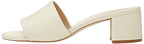 Marca Amazon - find. Block Heel Mule Sandalias con Punta Abierta, Bianco Off White, 39 EU