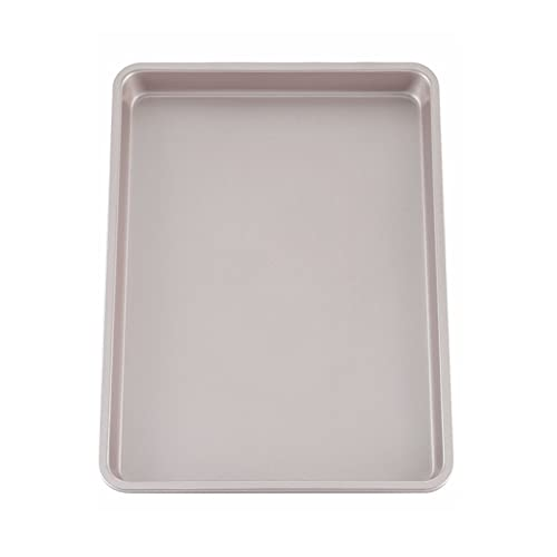 CHEFMADE 13-Inch Rimmed Baking Pan, Non-Stick Carbon Steel Cookie Sheet Pan for Oven Roasting Meat Bread Jelly Roll Battenberg Pizzas Pastries 9.7' x 13.6' x 1' (Champagne Gold)