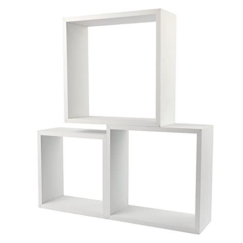 Cojunto 3 Estanterías para Pared Color Blanco Forma Cubo Estantes Pared Decorativo 30/27/24cm