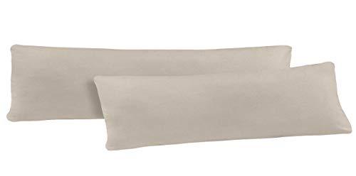basics-for-living Doppelpack Serie Jersey Kissenbezüge mit Reißverschluss aus 100% Baumwolle in 12 modernen Farben und 5 Größen (40 x 145 cm (Stillkissenbezug), Sand)