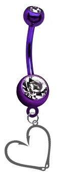 CustomCharms Fishing Hook & Heart Premium Purple Titanium Anodized Belly Button Navel Ring