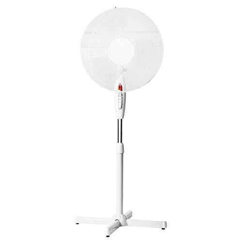 LINDER LEX Ventilador de pie, 40 cm de diámetro, luz nocturna, 130 cm, altura regulable, color negro o blanco