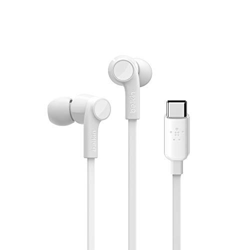 Belkin SoundForm USB-C-Kopfhörer für Samsung Galaxy S20, S20+, S20 Ultra, Note10, Note10+, S10, S10+, S10e, Google Pixel 3, 3XL, iPad Pro und andere Geräte (USB-C-In-Ear-Kopfhörer/Ohrhörer) weiß