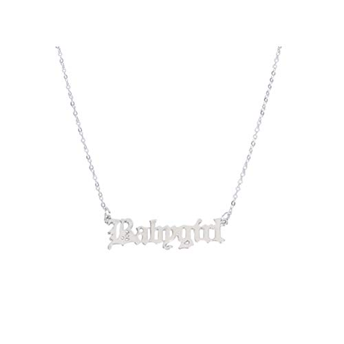 Holibanna Babygirl Necklace Silver Personalized Words Clavicle Chain Choker for Girls Women Jewelry Gift