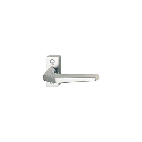 HOPPE 117GF/22 - Juego de manilla y roseta para puerta de perfil (aluminio anodizado), sin pasador cuadrado ni tornillos, color plateado