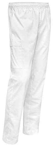 strongAnt® - Schlupfhose Pflegerhose Arzt Cargo Hose mit Gummibund Farbe: Weiß, Größe: 52