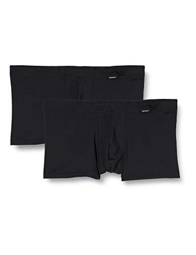 Skiny Herren Unterhose 2er Pack Hipster, Schwarz (Black 7665), Large (Herstellergröße: L)
