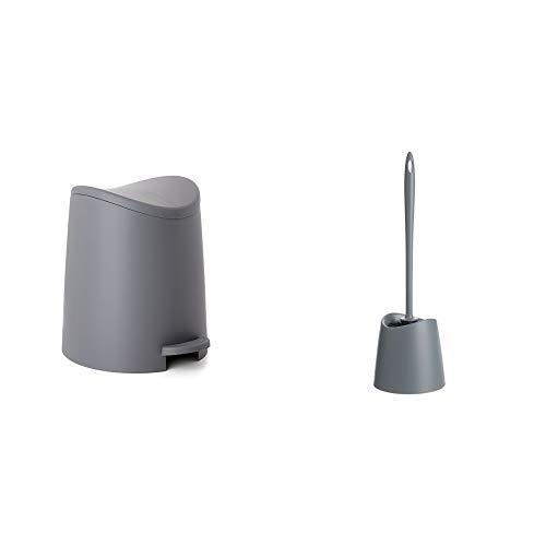 Tatay - Conjunto Cubo de Baño con Pedal de 3L y Escobilla WC, Gama Standard, Color Gris