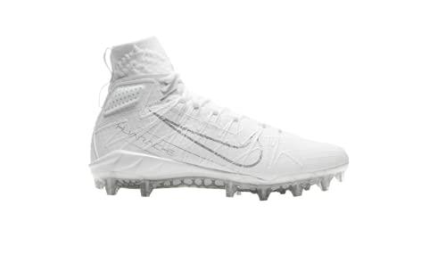 Nike Alpha Huarache 7 Elite Mid CJ0224-006 White-Metallic Silver Men's Lacrosse Cleats 8.5 US