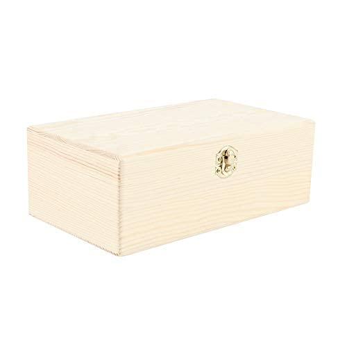 Joyero de madera sin terminar con cierre de bloqueo, 9.84 pulgadas x 5.9 pulgadas x 3.54 pulgadas resistente caja de madera de pino..