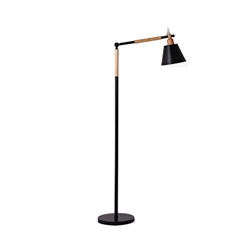 Nordic Metal Lampadaire, éclairage de lecture moderne, lampe en bois debout réglable for le salon, chambre, bureau ou salle d'étude, E27 (Color : Black)