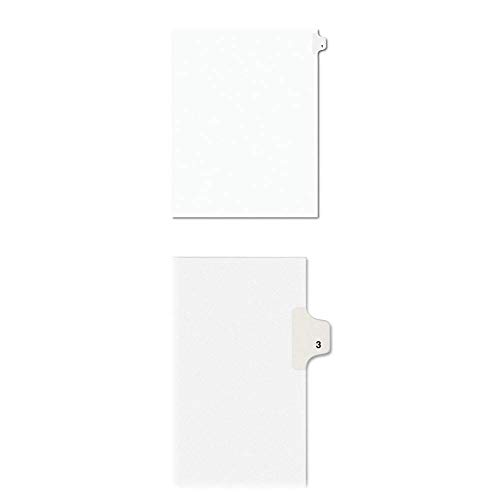 Avery(R) Side Tab Legal Index Exhibit Dividers, Tab Title 1 Pack of 25 + Avery Individual Legal Exhibit Dividers, Avery Style, 3, Side Tab, 8.5 x 11 inches, Pack of 25 (1191