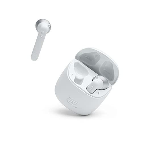 JBL 225 TWS Auriculares intraaurales realmente inalámbricos, con Bluetooth, Sonido Pure Bass y modo Dual Connect, hasta 25 hrs de música con estuche de carga, blanco