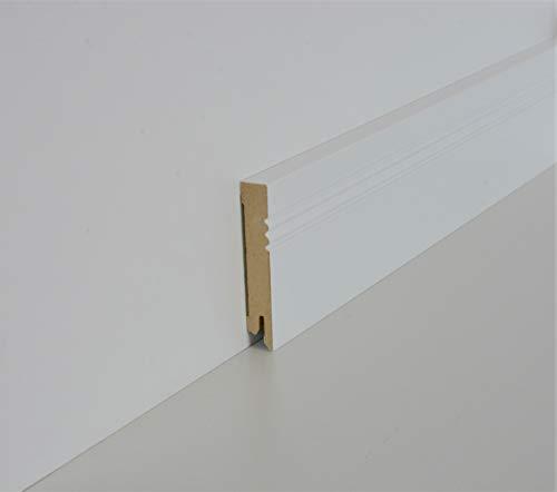 Schnell | Clip Sockelleisten Weiß mit Kabelkanal unsichtbare Befestigung 14mm x 80mm x 2,5m geeignet für Feuchträume | Blütenweiß
