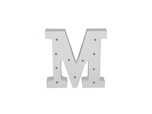 Letra blanca decorativa con luz LED blanca (madera) (M)