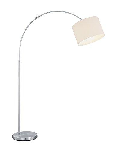 lightling modern Bogenleuchte in nickel matt, Stoffschirm weiß, 1 x E27 max. 60W, ø 30 cm, Höhe: 150-215 cm
