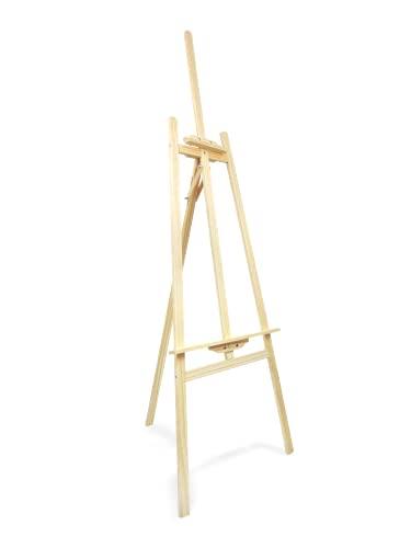 Caballete de madera para pintar ideal para soporte de lienzos pinturas óleo, acrílicas o exposición de cuadros (165CM)