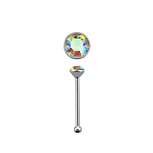 Piercing redondo de plata de ley, 1,5 mm de cristal AB transparente con punta de bola