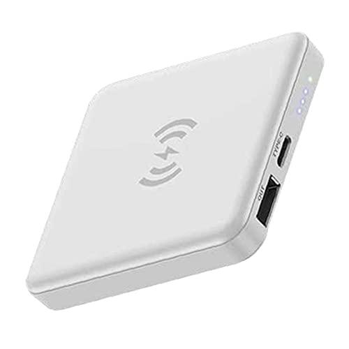 Tuimiyisou 5000mAh Mini Cargador del teléfono móvil de la energía Paquete Externo de baterías inalámbrico con el Parche magnético Blanco