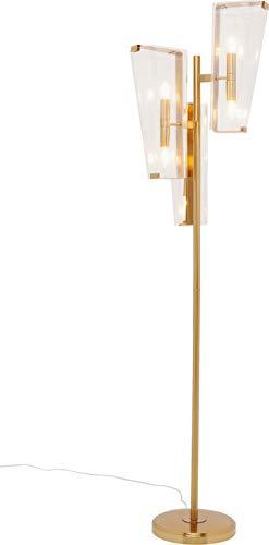 Kare Design vloerlamp Freeze 6, moderne vloerlamp voor de woonkamer in de kleur goud, met glazen schermen als decoratie, eyecatcher vloerlamp voor de woning, (H/B/D) 170 x 46,5 x 30 cm