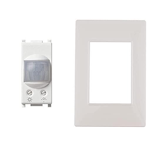 VIMAR 14181 Plana Sensore Di Movimento Crepuscolare E/O Temporizzato Ad Infrarossi, Rele 230V & 14653.01 Placca 3 Moduli, Bianco