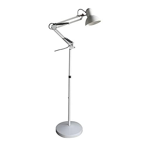 Wonderlamp - Lámpara de pie articulada Avati, Lámpara Pie Blanco, Altura regulable, Cuerpo y cabezal articulable, Bombilla 1xE27