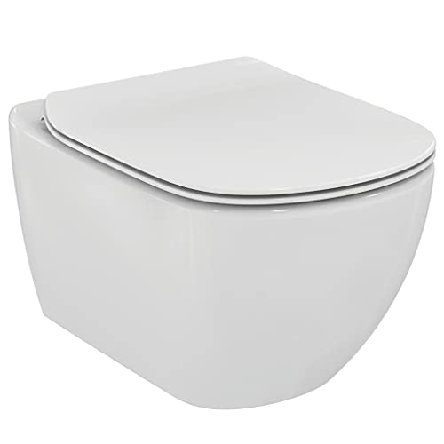 Ideal Standard T354701 TESI Vaso sospeso AquaBlade® con fissaggi nascosti, completo di sedile slim - Bianco