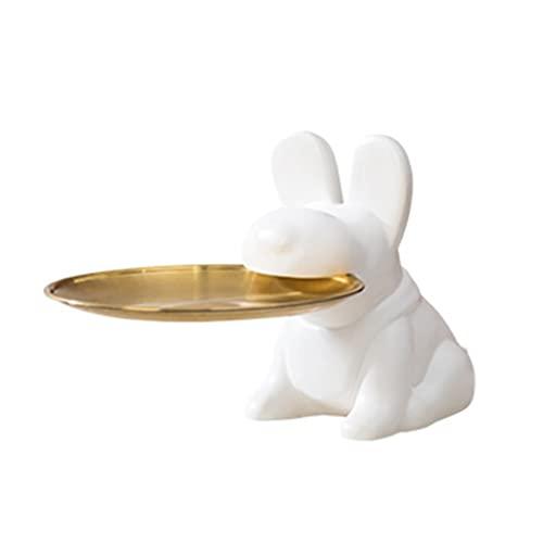 LiPengTaoShop Cuencos Decorativos Escultura de Perro de cerámica Cuenco de Llave con Bandeja de Metal Bandeja de joyería Decoración del hogar Bandeja de tocador Cuenco de Dulces Bandeja de Valet