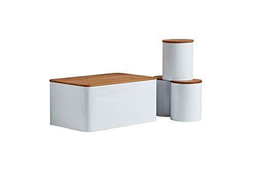 WENKO 4er Set Brotkasten mit Brot-Schneidebrett und 3 Vorratsbehältern mit Bambus-Deckel, Weiß, 32x21x 5cm