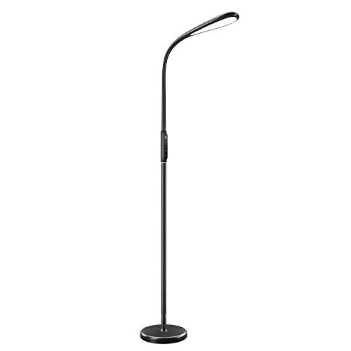 TaoTronics LED Floor Lamp, 1800 Lumens Water Drop-Shaped Dimmable Standing Tall Pole Light, 3 Color Temperatures, 5 Adjustable Brightness, Flexible Gooseneck, Touch Control, Black