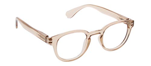 Peepers by PeeperSpecs Smith Round Reading Glasses, Tan-Focus Blue Light Filtering Lenses, 46 mm + 1.5