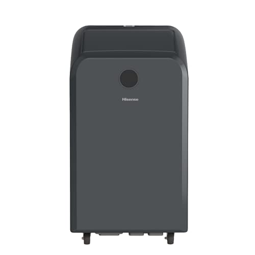 Hisense Smart Control Portable Air Conditioner 10,000 BTU Cooling Dehumidifier Fan with Remote Smartphone Google and Alexa, Rooms up to 450 sq ft, Black