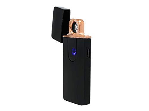 SekTek AA5551 - Mechero eléctrico de doble cara, USB, recargable, resistente al viento, sin llama, color negro brillante