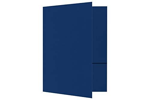 9 x 12 carpetas de presentación en 100 lbs. azul marino con 2 bolsillos, soporte para papel estándar de 8 1/2 x 11, documentos profesionales, folletos, informes escolares, paquete de 100 (azul oscuro)