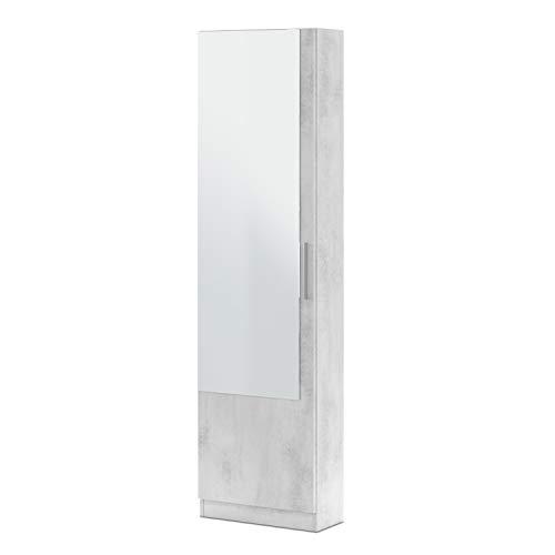 Habitdesign Armario Zapatero, Zapatero con Espejo, Modelo Kristal, Acabado en Color Gris Cemento, Medidas: 50 cm (Ancho) x 180 cm (Alto) x 22 cm (Fondo)