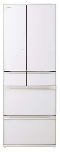 日立 冷蔵庫 567L 6ドア 強化ガラスドア 観音開き 日本製 幅68.5cm ぴったりセレクト まるごとチルド R-KW57K XW クリスタルホワイト