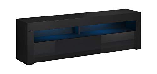 Vivaldi Mobile Porta TV Mex2 | 50 x 140 x 35 cm | Tavolino Porta TV con Strisce Luci LED | Armadietto TV | Mobile Basso per TV con scaffale Aperto | Ideale per Soggiorno | Nero Opaco e Nero Lucido