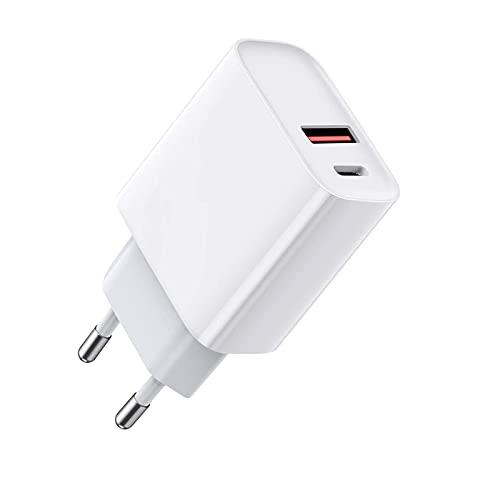PD Cargador QC 3.0 USB C, 20 W, carga rápida, adaptador de alimentación de carga rápida, compatible con iPhone 12/12 Pro/12 Pro Max/iPad Pro/Airpods Pro/Xiaomi/Oneplus/Huawei Galaxy S10 S9 S8