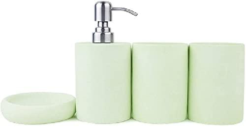KMILE Resina Gargle Taza Líquido Jabón Dispensador Jabón Plato Titular de Cepillo de Dientes (Color : Green, Size : Free)