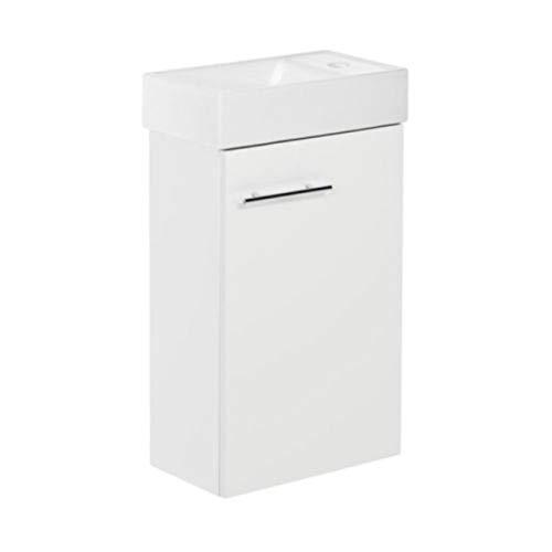 VBChome Das Kim Set. Waschplatz, Badmöbel in weiß, Hochglanz Oberfläche, Kleines Gästebad, Bestehend aus Waschplatz und Waschbecken, Schmale Badezimmermöbel für Gäste WC