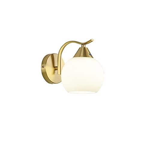 Chenguojian Lámpara de Pared de Bola de Vidrio láctea nórdica Luz de cabecera Interior Luz de Metal Dorado con luz Blanca E27 LED Logro de la luz Decorativa del Comedor del salón del Bulbo.